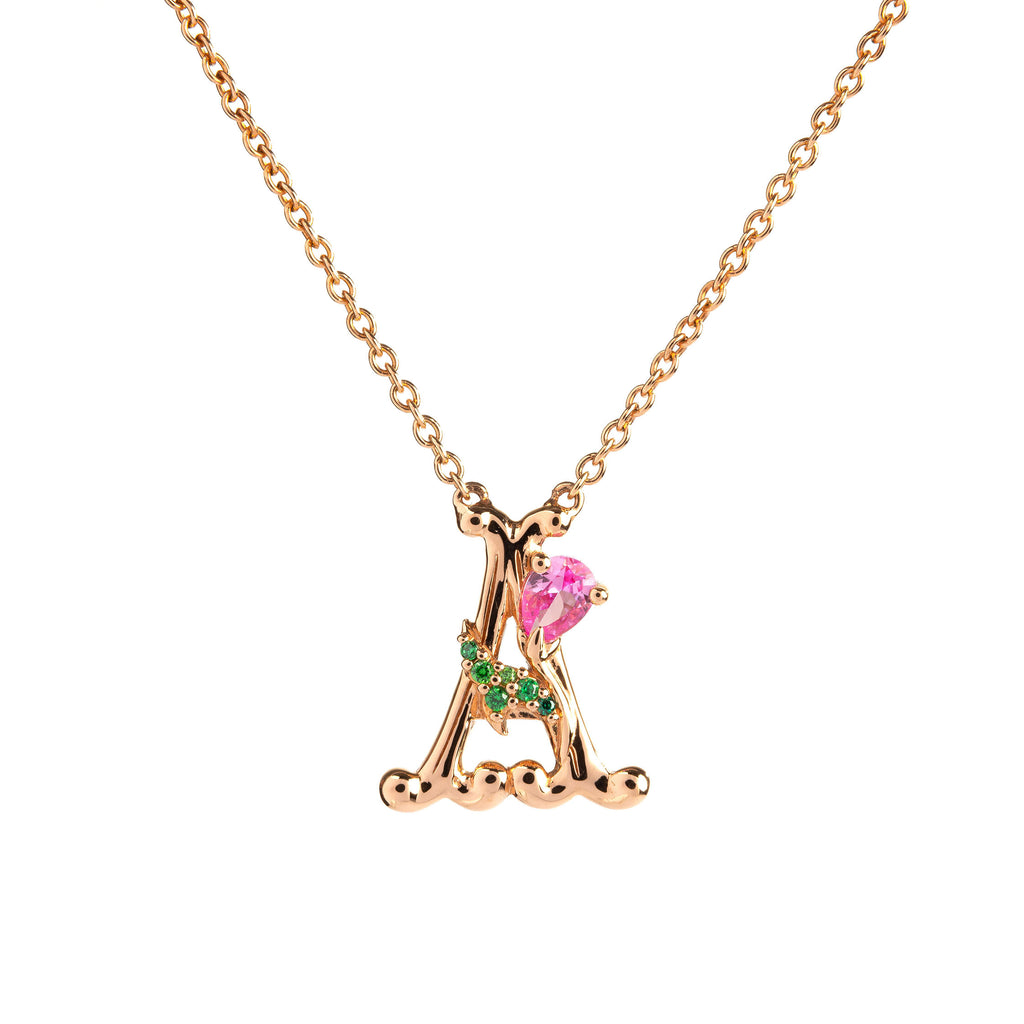 ROSY ALPHABET NECKLACE A