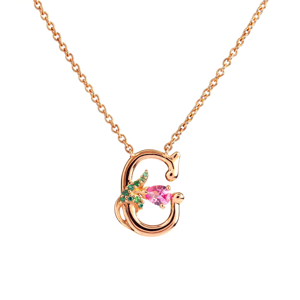 ROSY ALPHABET NECKLACE C