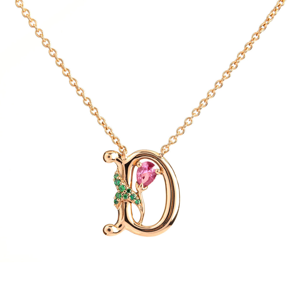 ROSY ALPHABET NECKLACE D
