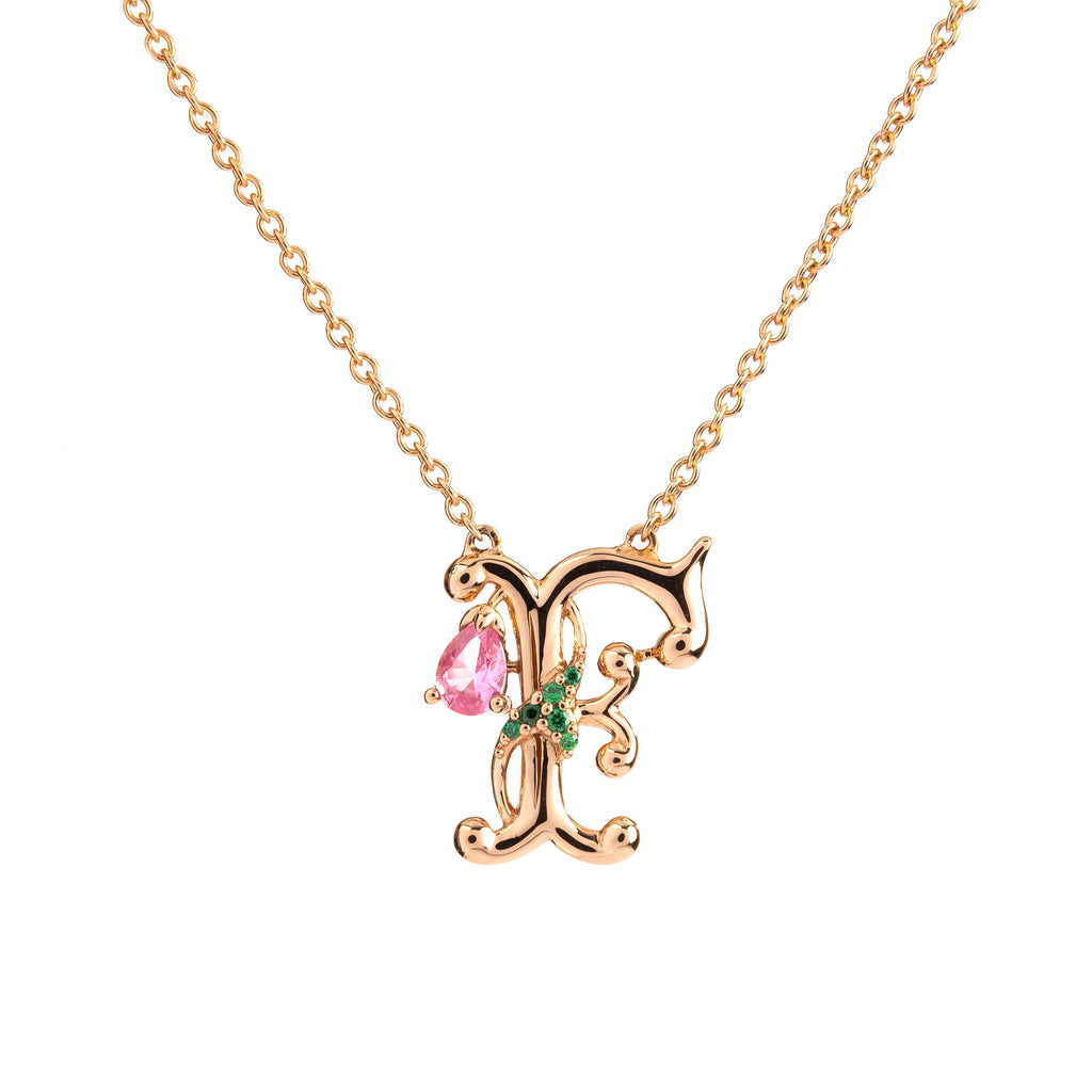 ROSY ALPHABET NECKLACE F