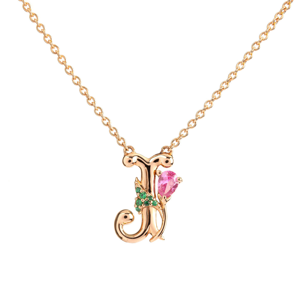 ROSY ALPHABET NECKLACE J