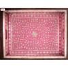 Moroccan Style Decorative Bone Inlay Tray- Blue, Pink, Grey And Coral