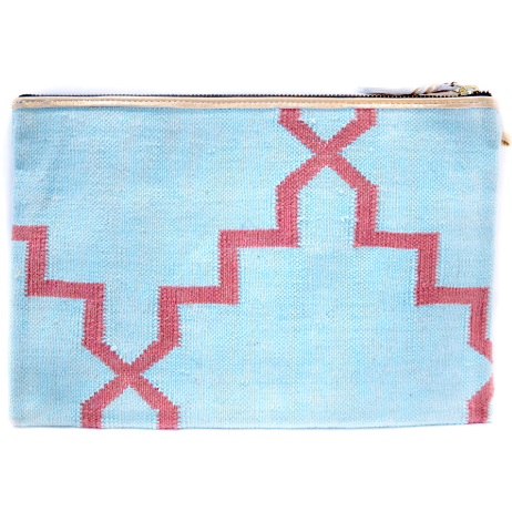Blue And Pink Zig Zag Sparkly Boho Purse