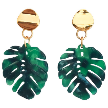 Palm Leaf Gold And Green Lucite Earrings