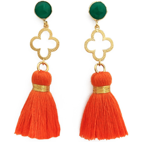 Good Luck Clover Tassel Earrings: Green/Orange