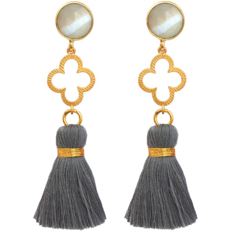 Good Luck Clover Tassel Earrings In Grey