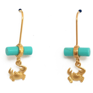 Turquoise Dressed Crab Earrings