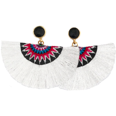 Fan Tassel Earrings- White (Black Stone)