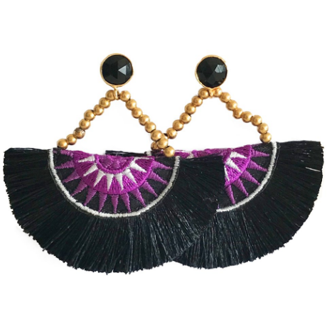 Fan Tassel Earrings- Black and Purple (Black Stone)