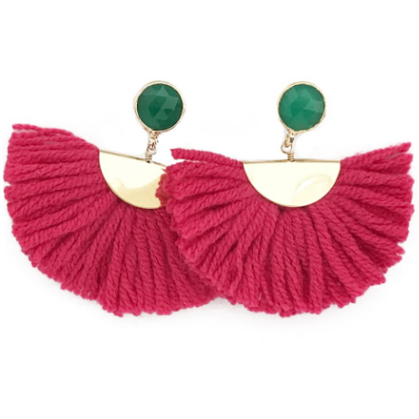 Pink Cotton Fan Earrings With Green Stone