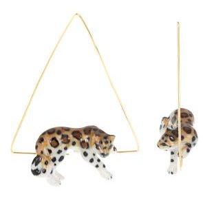 Leopard Lying Creoles Triangle Earrings
