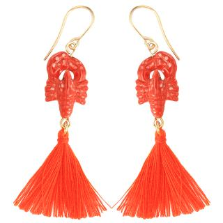 Red Lobster Pom Pom Earrings