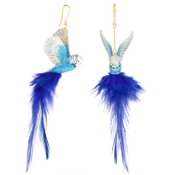 Blue Budgerigar Feather Earrings