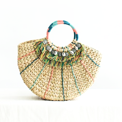 The BÉNÉDICTE Embellished Round Boho Basket Bag