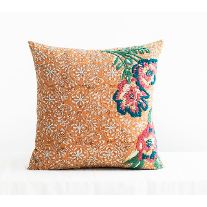 Cate Mustard Yellow Square Floral Cushion