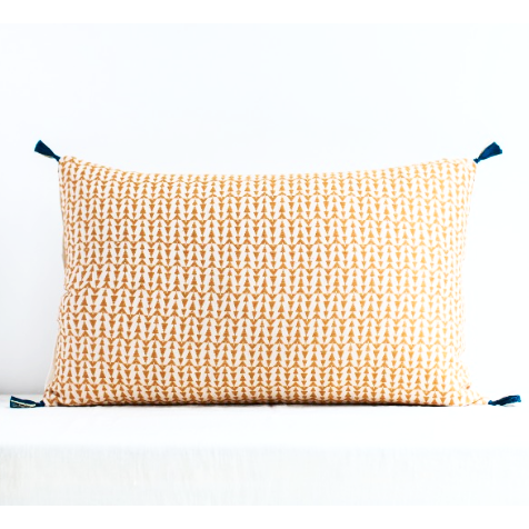 Ashu Mustard Yellow Rectangle Patterned Cushion With Tassels