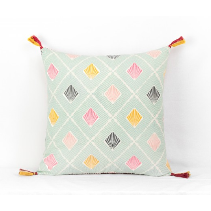Leela Blue Patterned Square Cushion With Tassels