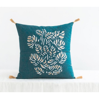 Chandni Indigo Blue Square Cushion With Tassels
