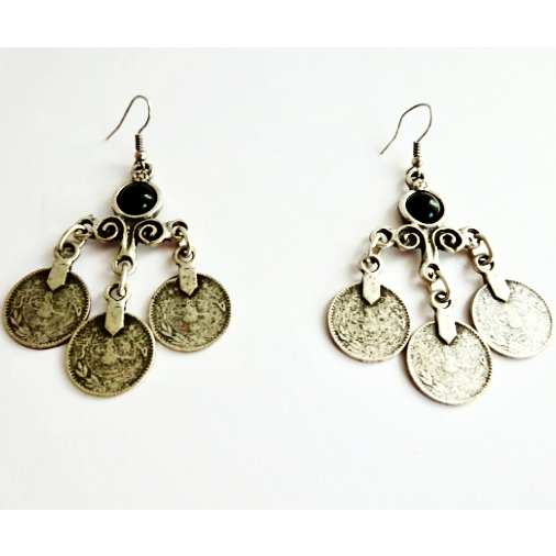 Ethnic Silver Coin Earrings