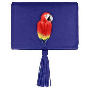 Blue Clutch Bag With Red Parrot