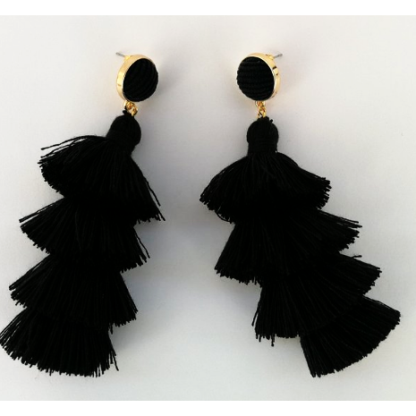 Midnight Nomad Black Tassel Earrings
