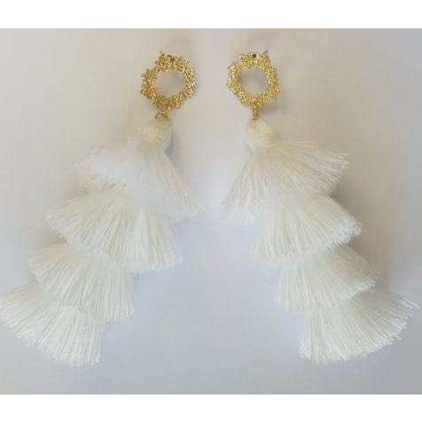 The Gregian Nomad White And Gold Tassel Earrings