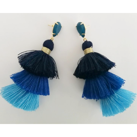 The Moonlight Nomad Blue Tassel Stud Earrings