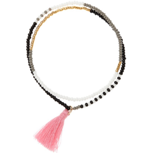 Beaded Tassel Bracelet In Grey, Pink, White And Black