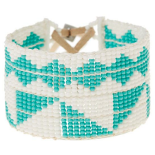 Beaded Cuff Bracelet In Turquoise And White