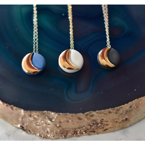 Phases Of The Moon Necklace In Blue, White And Black