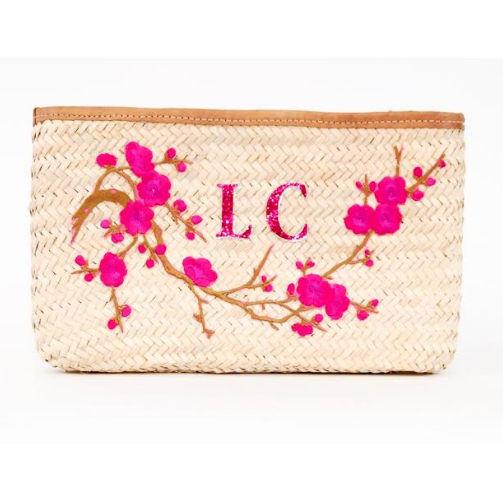 Pink Cherry Blossom Boho Straw Clutch Bag