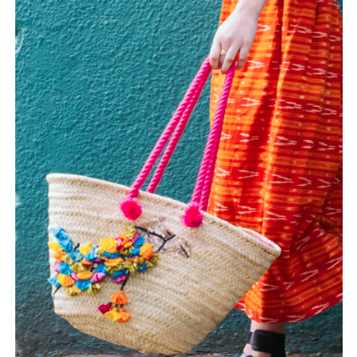 Straw Camel Beach Bag With Pink Handles And Tassels