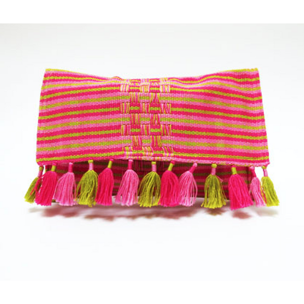 Chrissie Pink And Green Tassel Clutch Bag