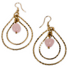 Vani Gold And Pink Teardrop Dangly Earrings