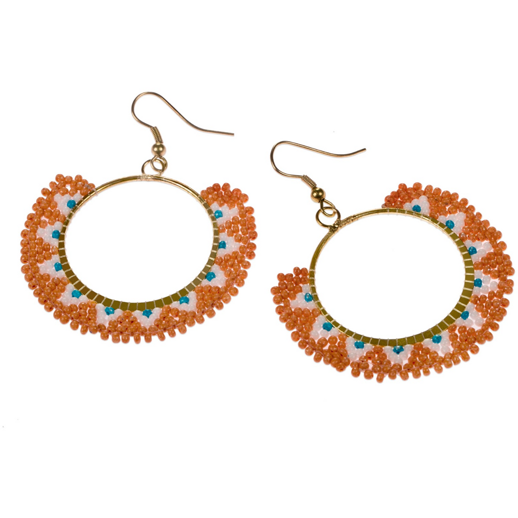 Lamya Glass Bead Orange And Blue Drop Earrings