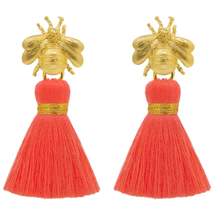 Queen Bee Neon Coral Tassel Earrings