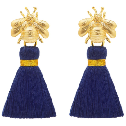 Queen Bee Navy And Gold Tassel Earrings