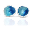 Acorn Sterling Silver Stud Earrings With Double Blue Enamels