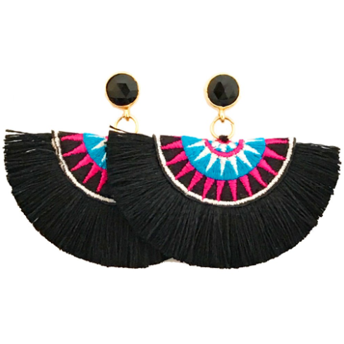 Fan Tassel Earrings In Black (Black Stone)