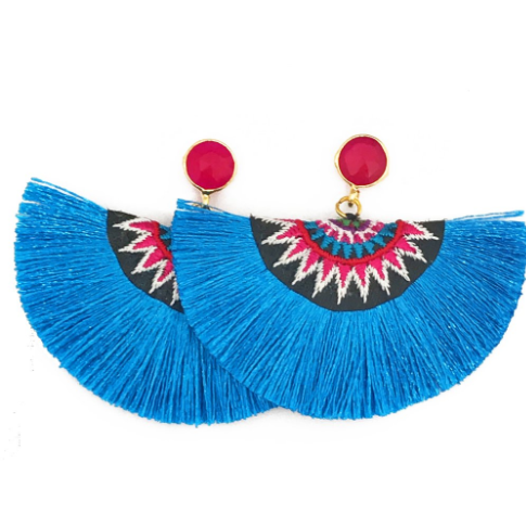 Fan Tassel Earrings In Blue (Pink Stone)