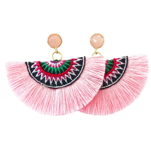 Fan Tassel Earrings- Light Pink