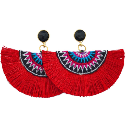Fan Tassel Earrings- Red