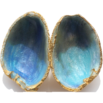 Pistachio Studs - 18ct Gold Plated in Blue Enamel