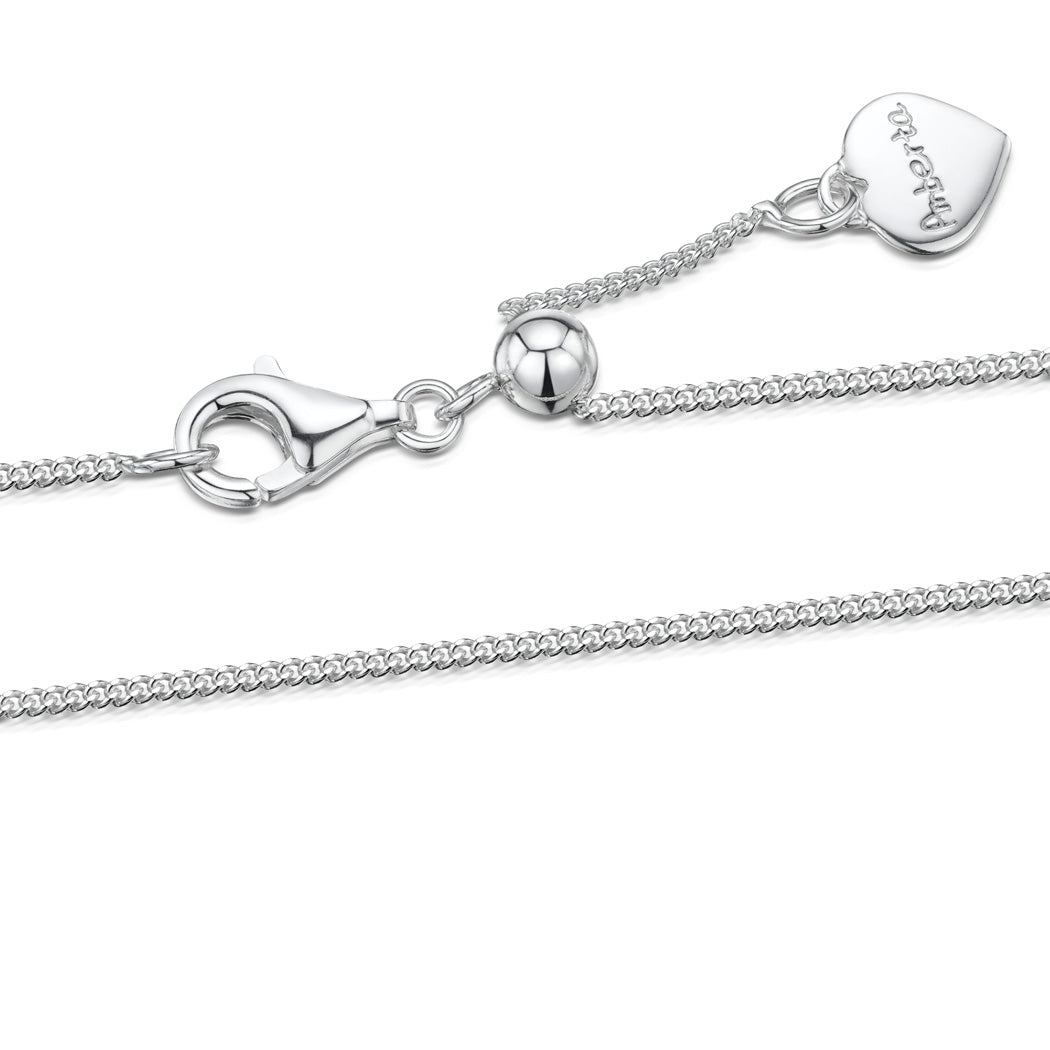 Silver 1.1 mm Curb Chain Necklace with Round Slider