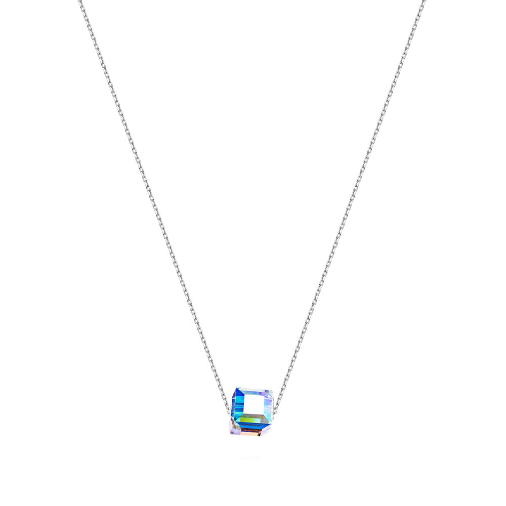 Silver Trace Chain Necklace with Rainbow Cube