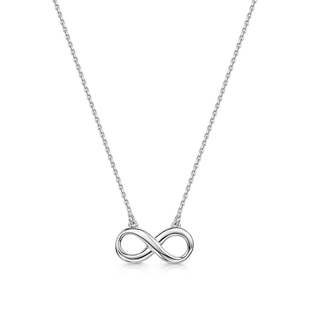 Silver Trace Chain Necklace with Infinity Pendant