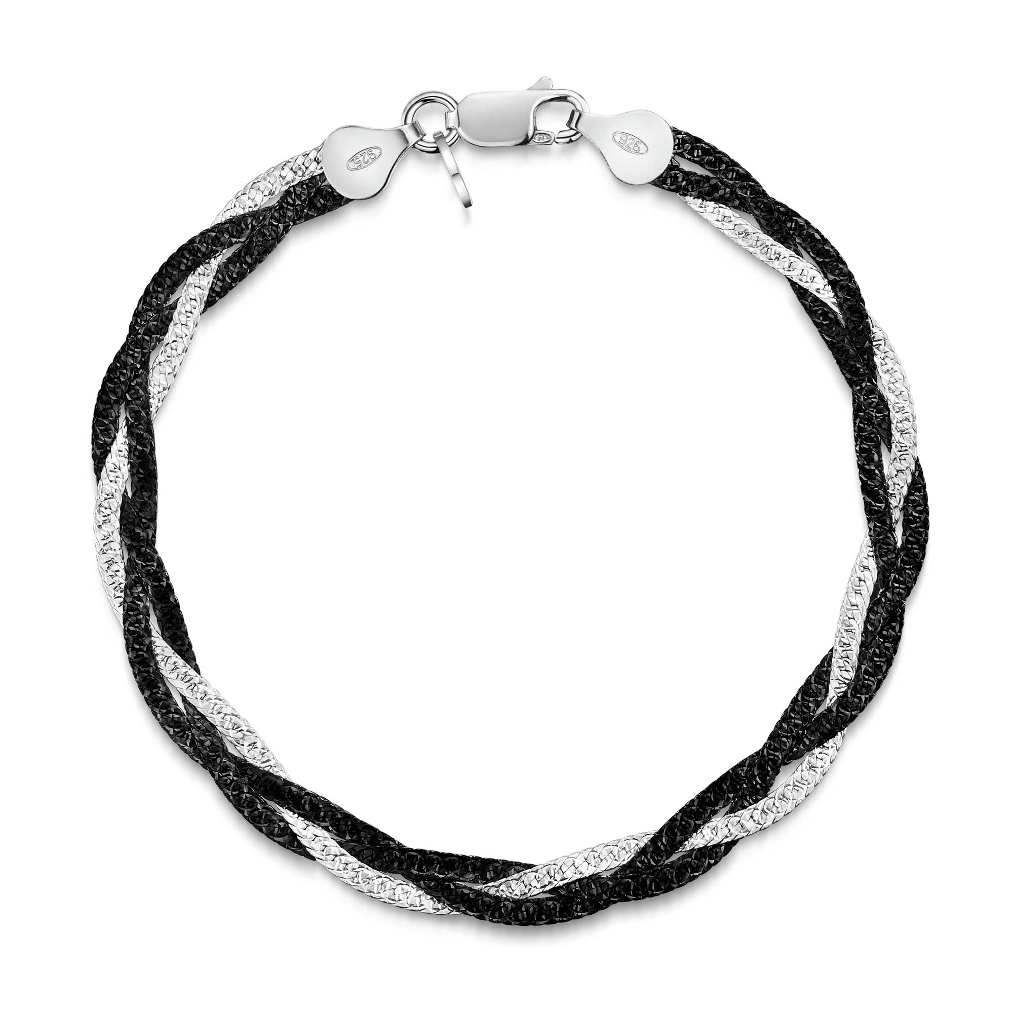 Amberta Black and Silver Herringbone Bracelet