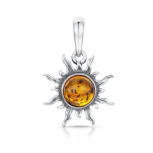 Silver Sun Pendant with Honey Amber