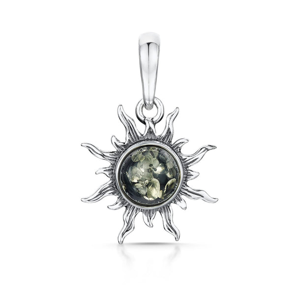 Silver Sun Pendant with Green Amber