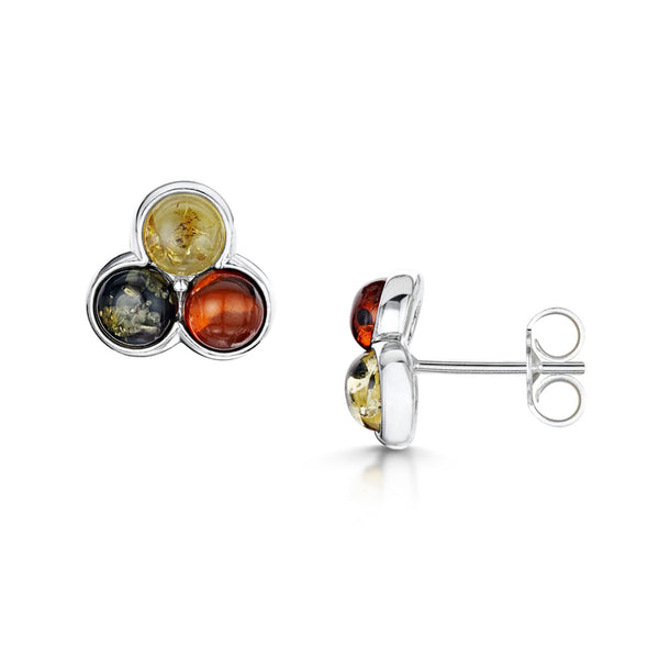 Amberta Silver Multicolor Amber Stud Earrings